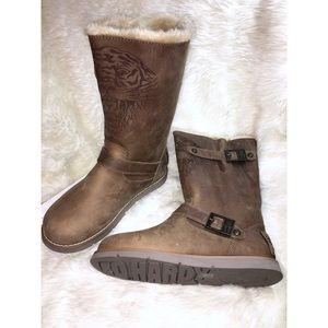 Cute & Cozy Ed Hardy Leather Toole Fur Boots